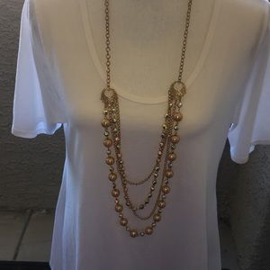 Goldtone Peach Pearl, Crystal Necklace